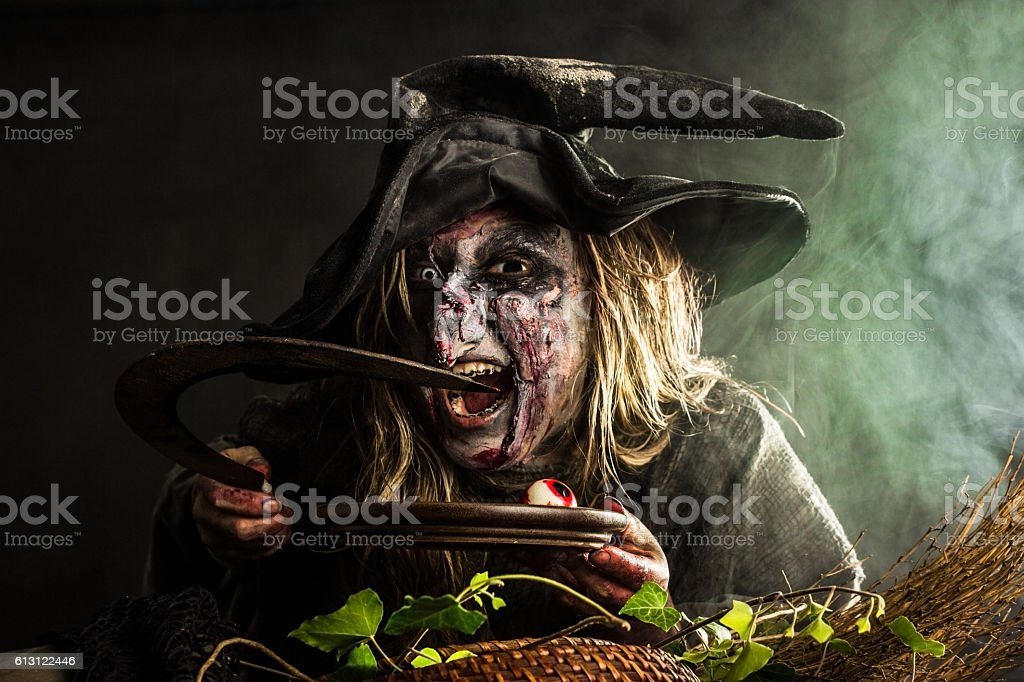 Witch in the Fog stock photo