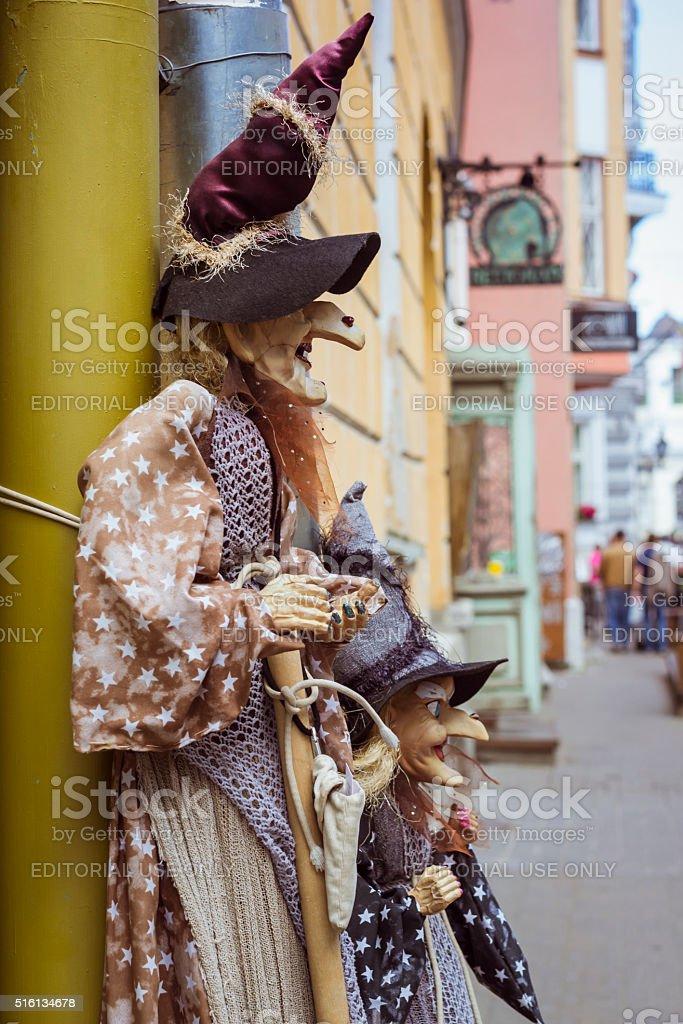 Witch - rag handmade toys. Tallinn, Estonia stock photo