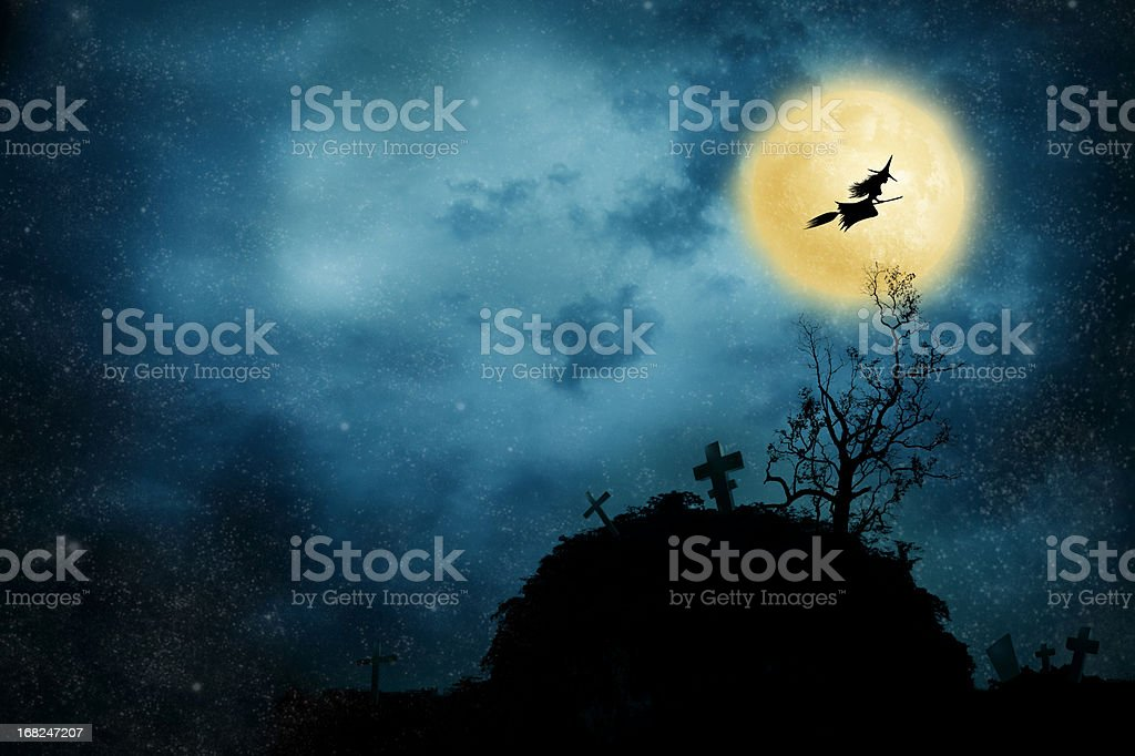Witch riding a broom stock photo