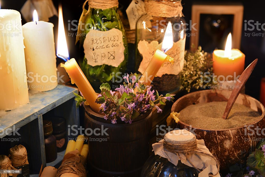 Witch table or alternative medicine theme stock photo