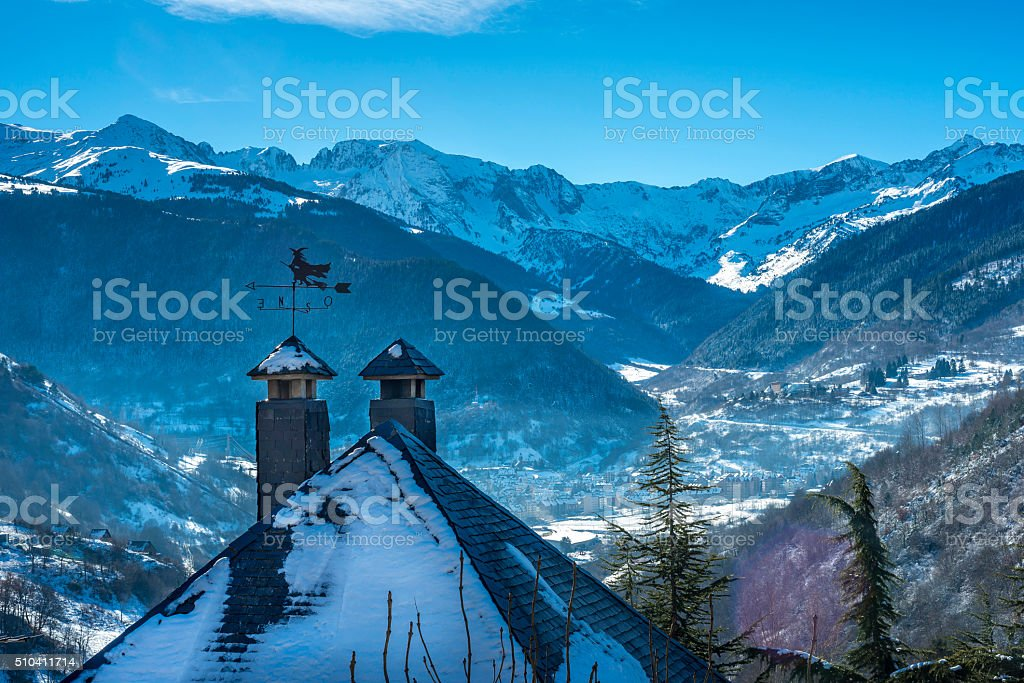 Witch weather vane stock photo