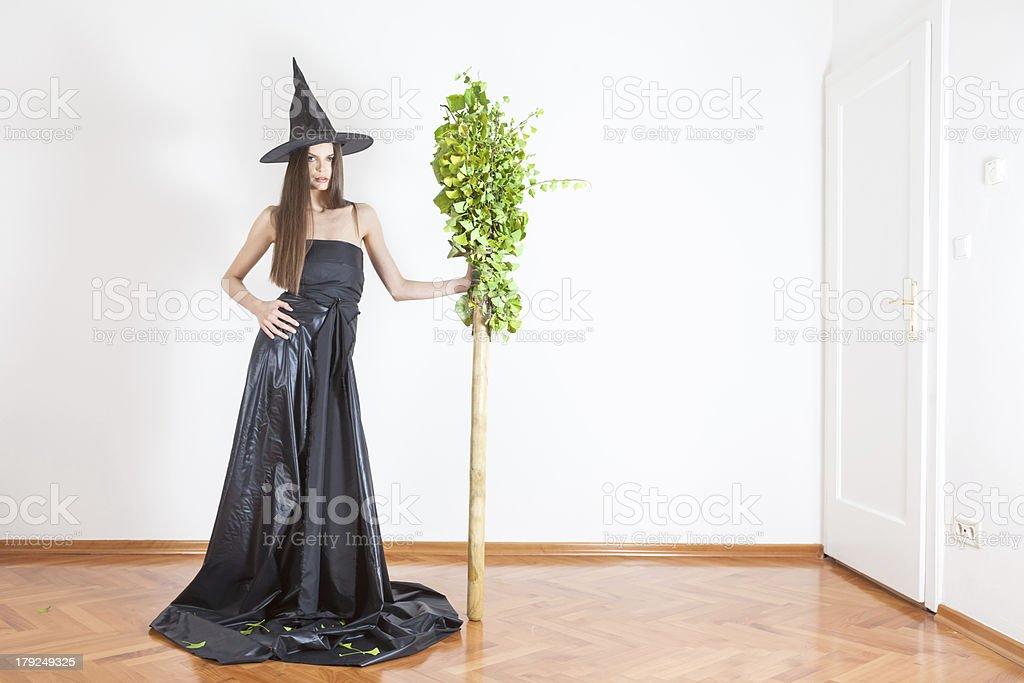 witch with broomstic royalty-free stock photo