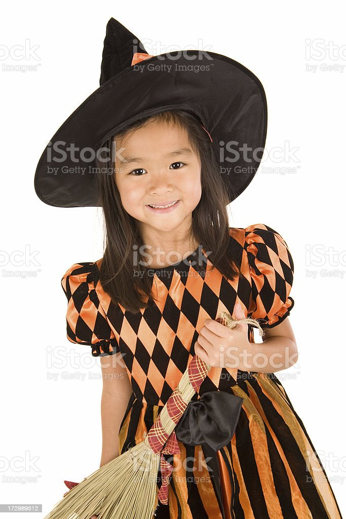 Witch with her broom royalty-free stock photo