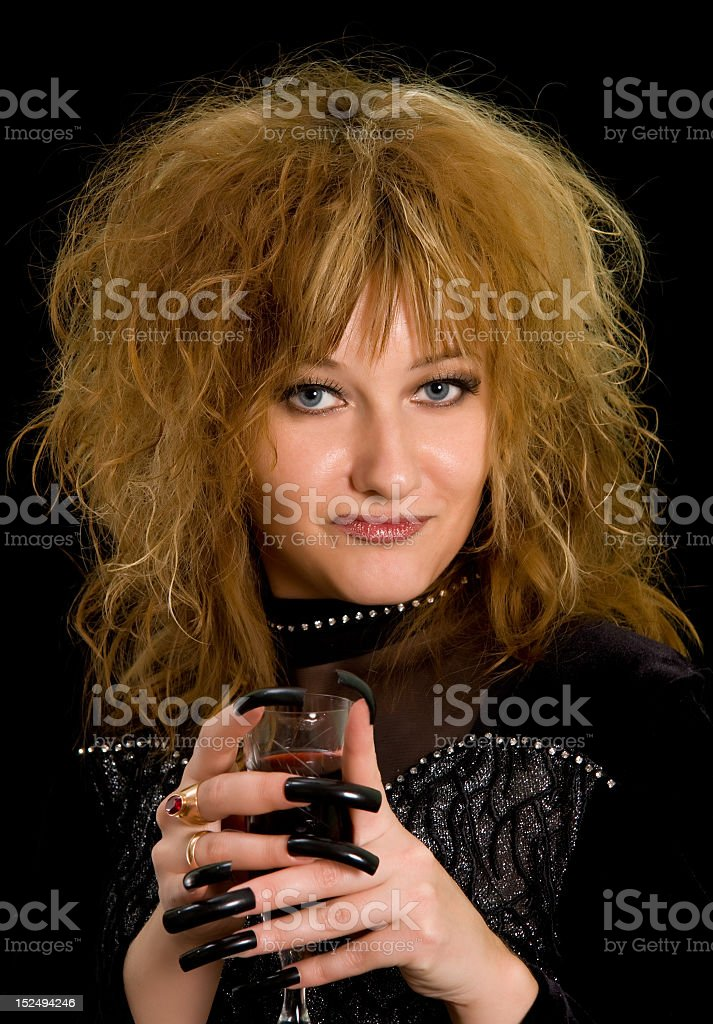 Witch with wine royalty-free stock photo