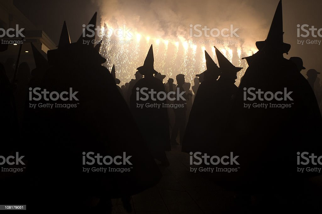 Witches dancing in the night 2 stock photo