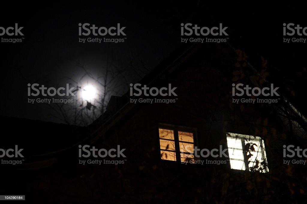 witch's house at dark night stock photo