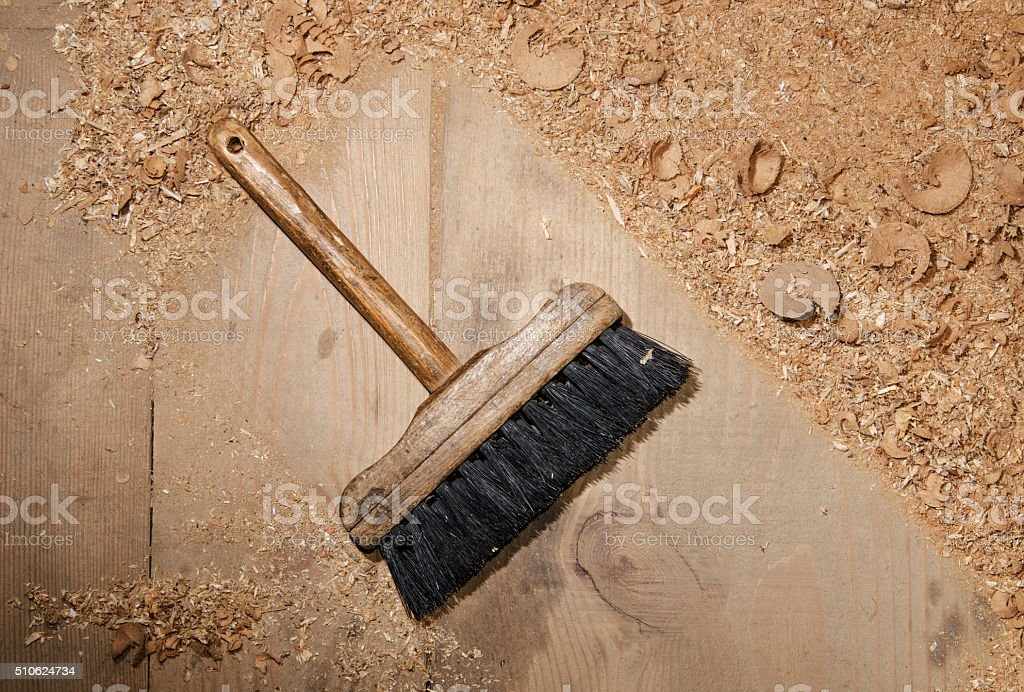 with a brush for dust cleaning close-up stock photo