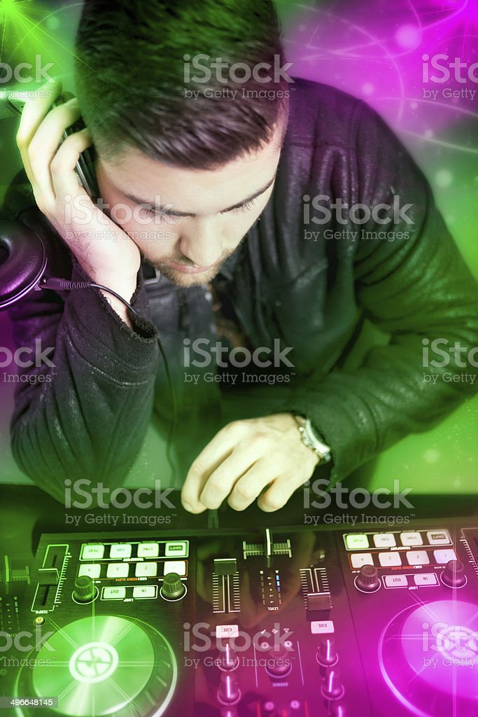 DJ with a mixer equipment stock photo