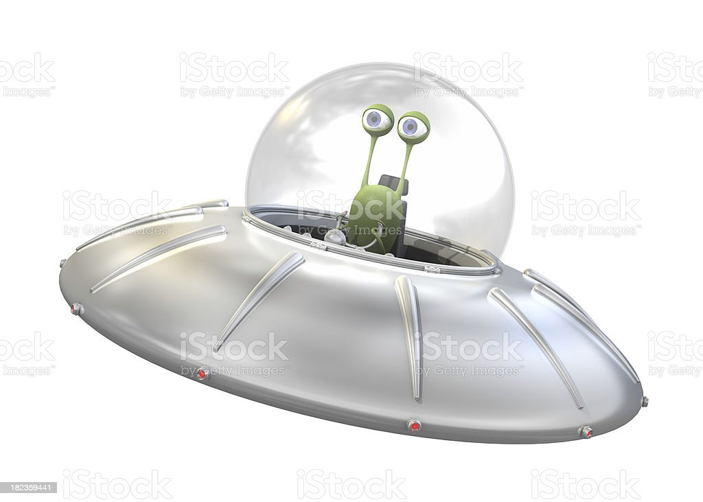 UFO with alien stock photo