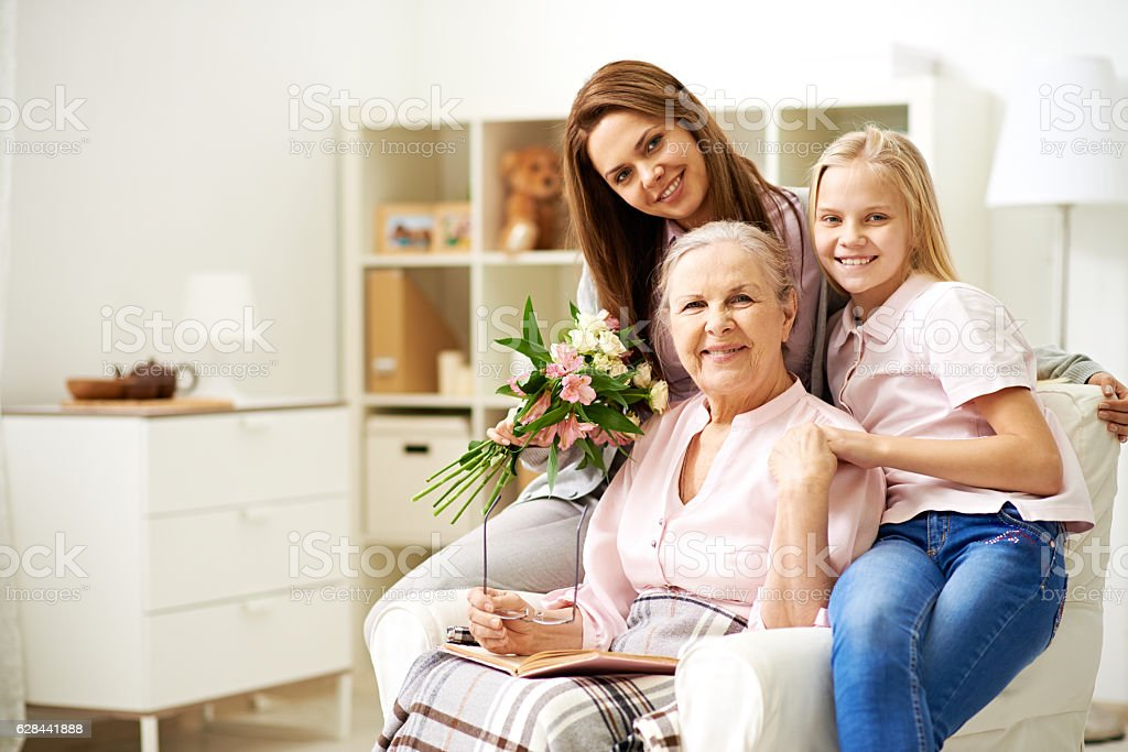 With beloved grandma stock photo