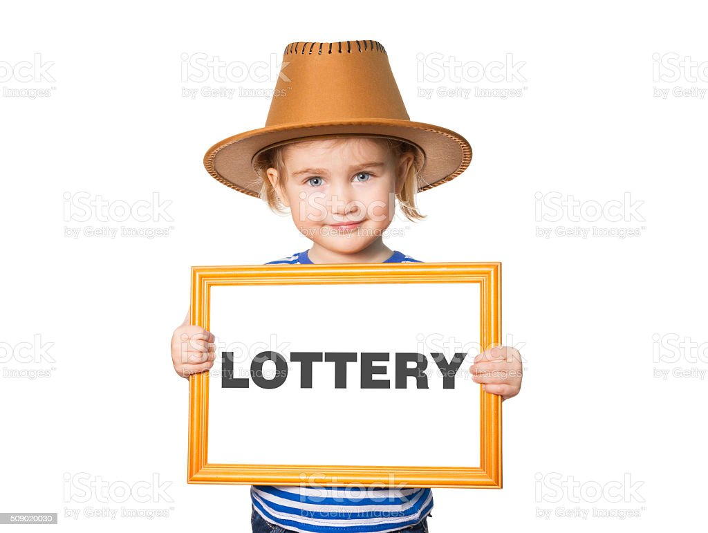 with blackboard. Text LOTTERY. stock photo