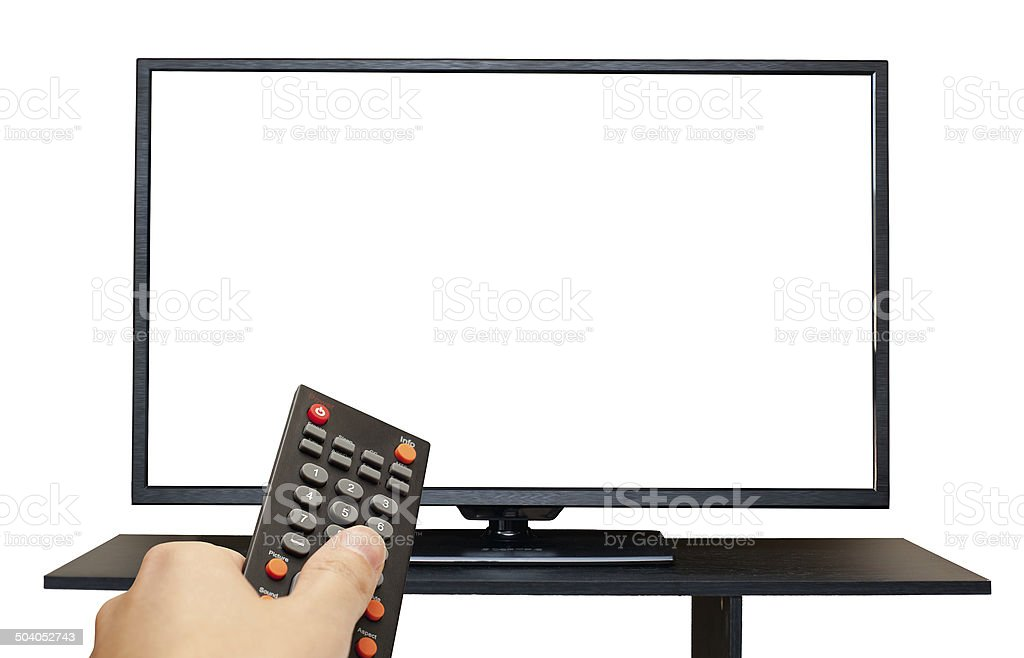 TV with blank screen and hand holding Remote Control isolated stock photo