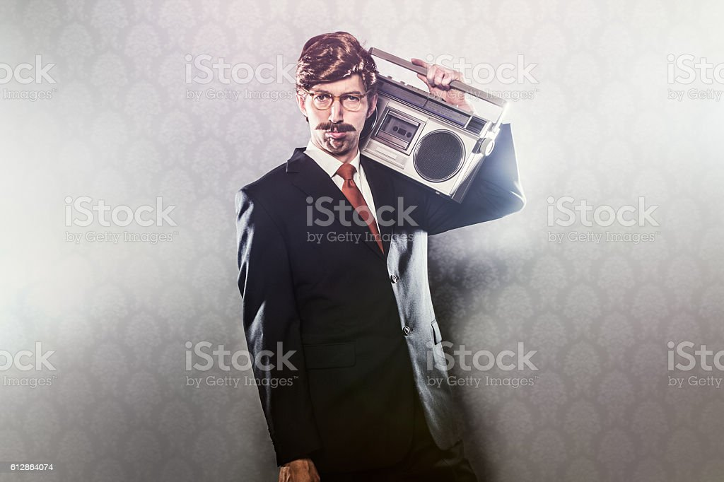 CEO With Boombox Stereo stock photo