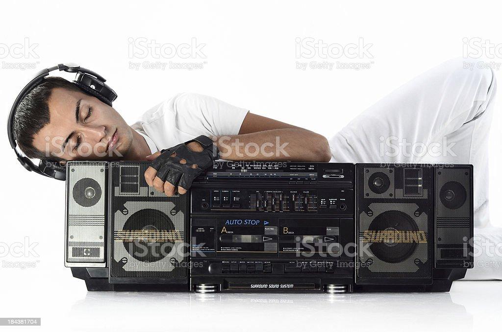 DJ with earphones and radio royalty-free stock photo