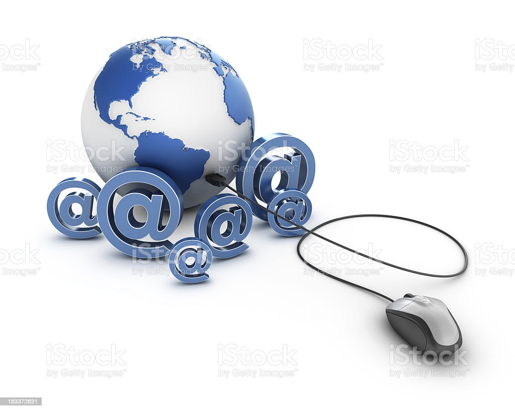 @ with Earth Globe and Computer Mouse. royalty-free stock photo