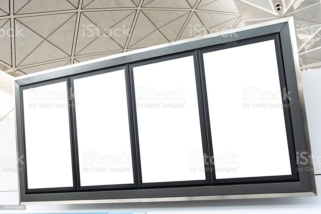 LCD TV with empty copy space at airport shot stock photo