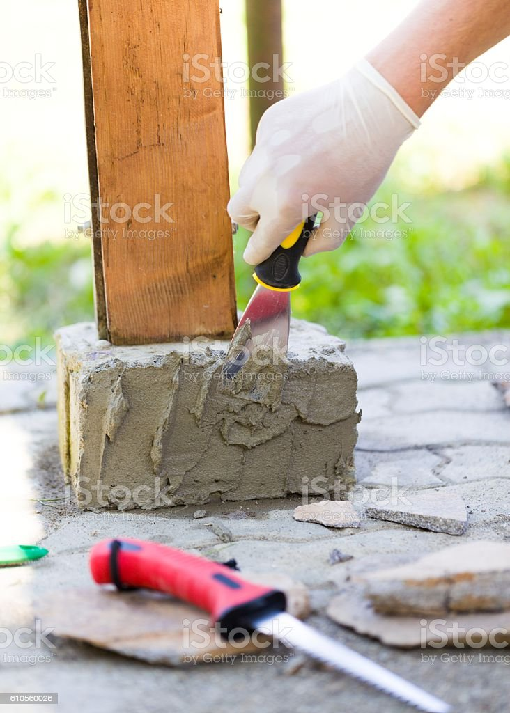 With glue will fix stones well stock photo