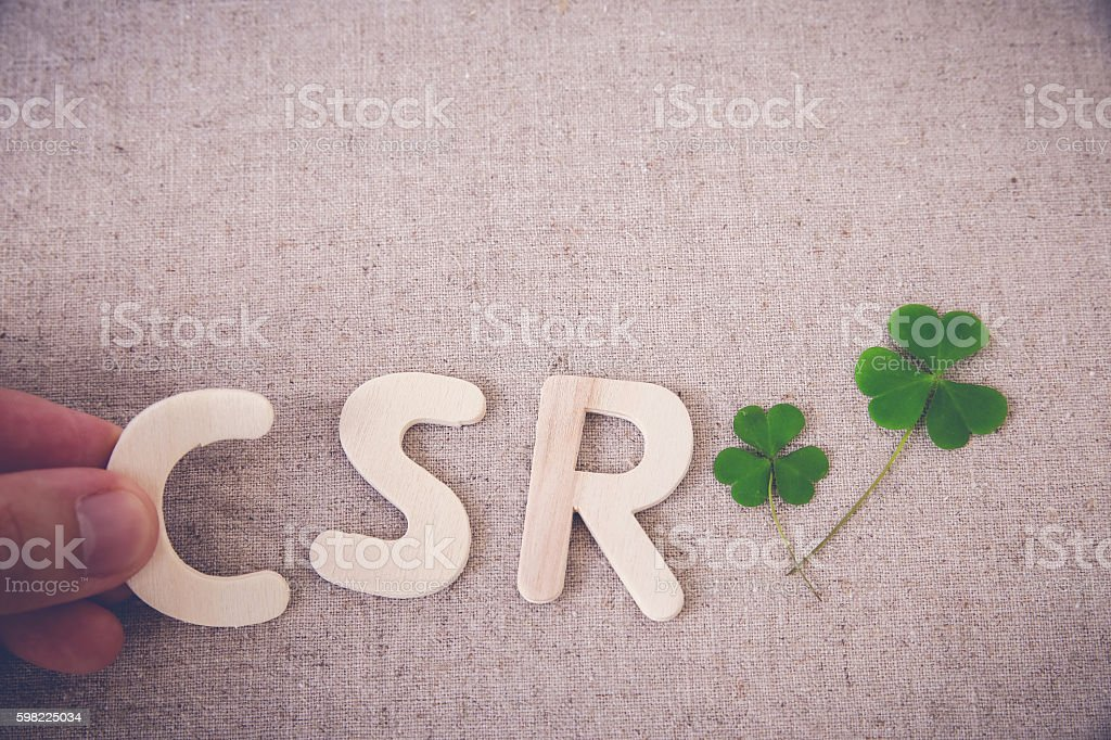 CSR with green leaf, copy space background,toning stock photo