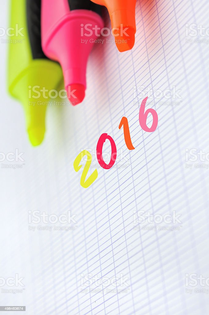 2016 with highlighters stock photo