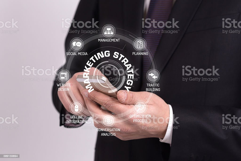 MARKETING STRATEGY CONCEPT with Icons and Keywords stock photo