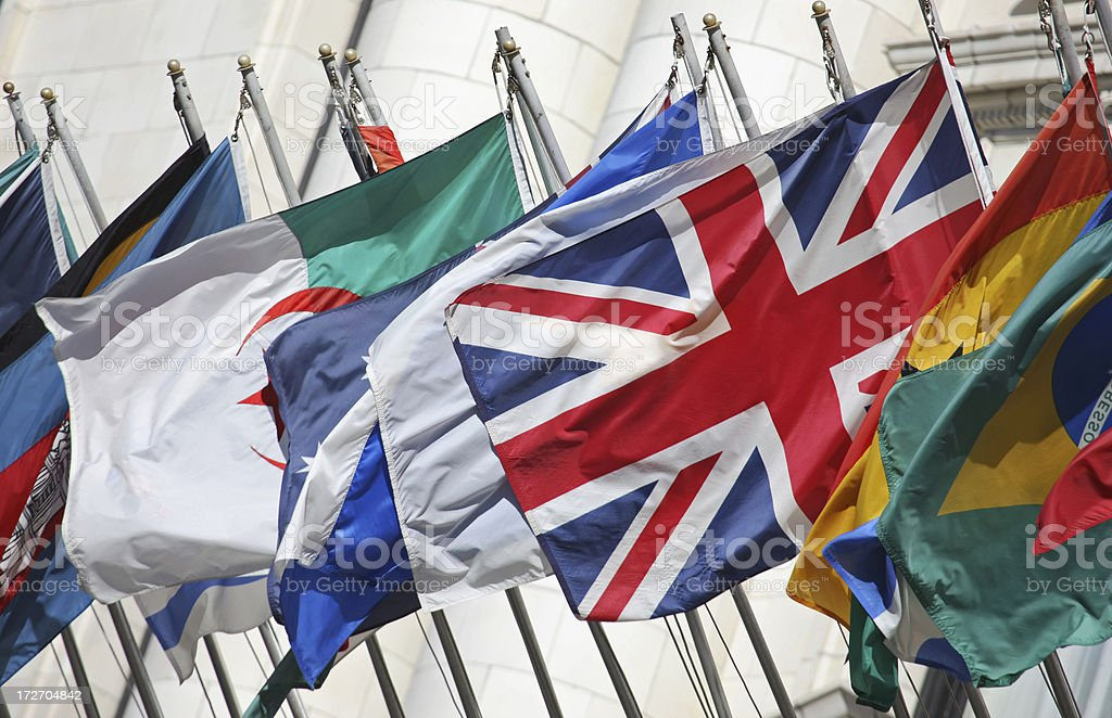 UK with International Flags royalty-free stock photo
