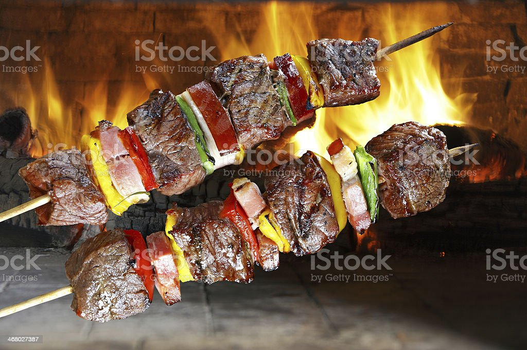 BBQ with kebab cooking stock photo