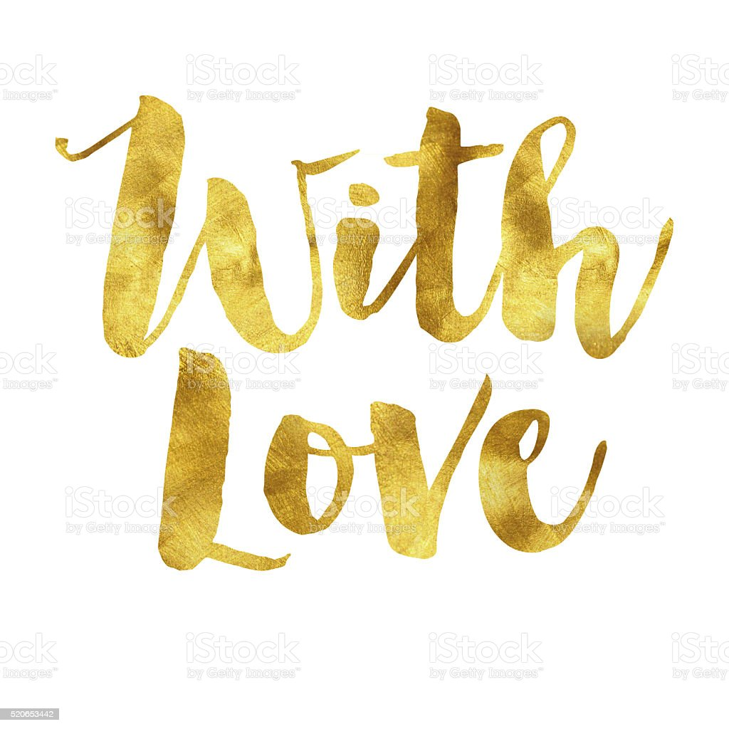With love gold foil message stock photo
