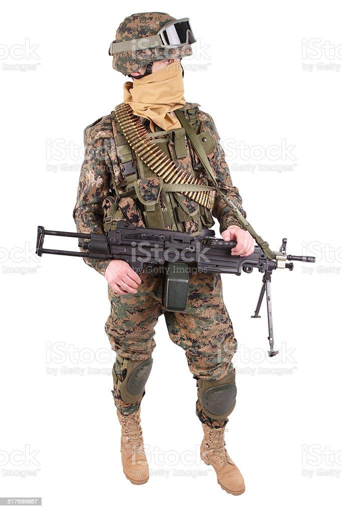 US MARINES with M249 machine gun stock photo