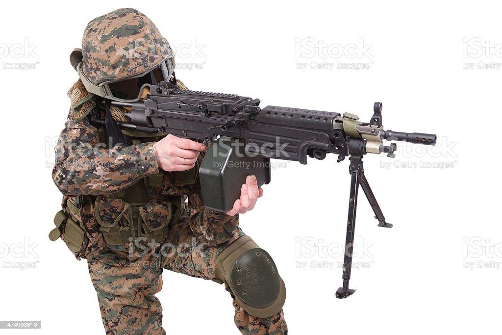 US MARINES with machine gun stock photo