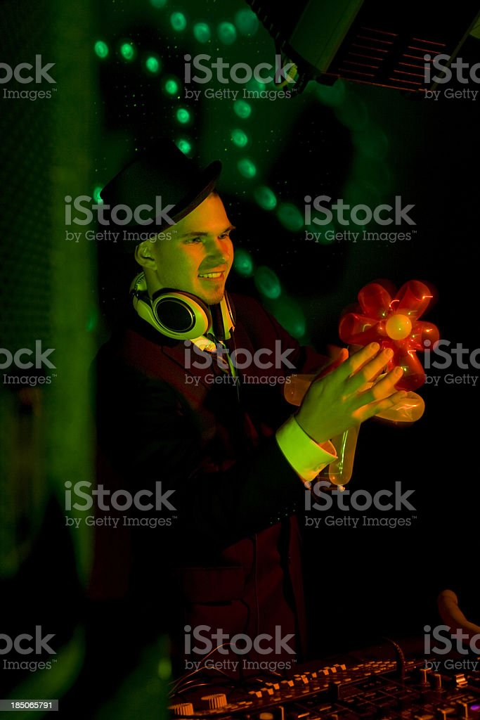 DJ with magic hand stock photo