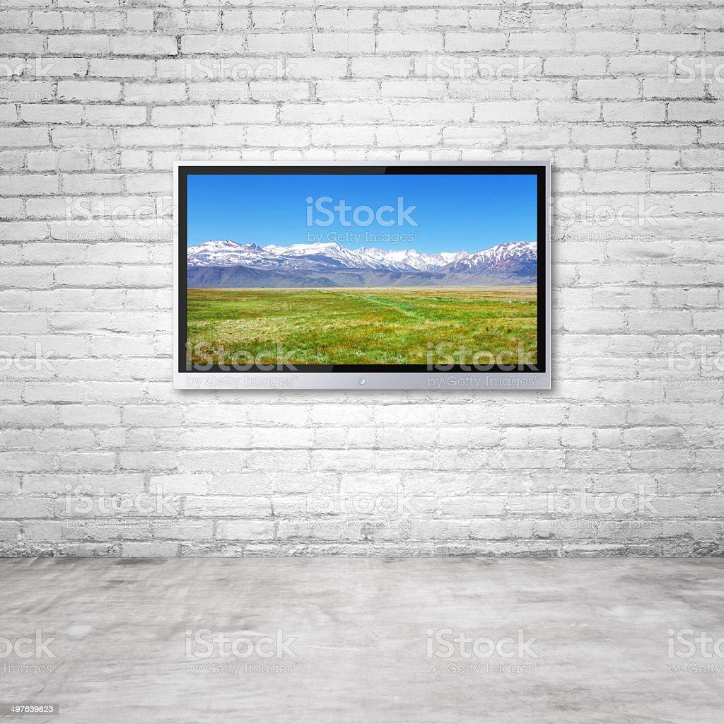 TV with mountain stock photo