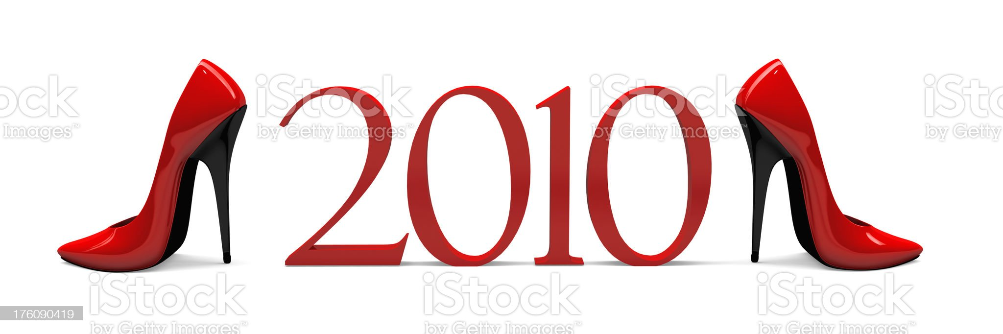 3D 2010 with Pair Red High Heels royalty-free stock photo