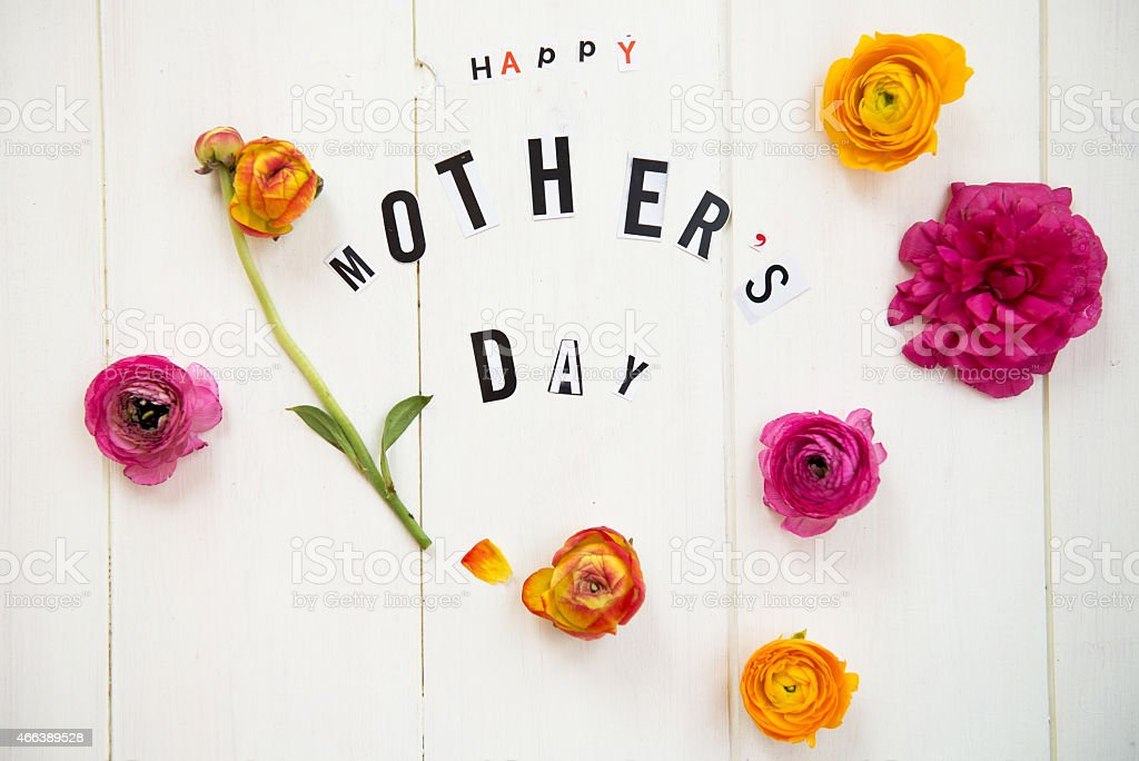 HAPPY MOTHER'S DAY with pink and orange flowers stock photo