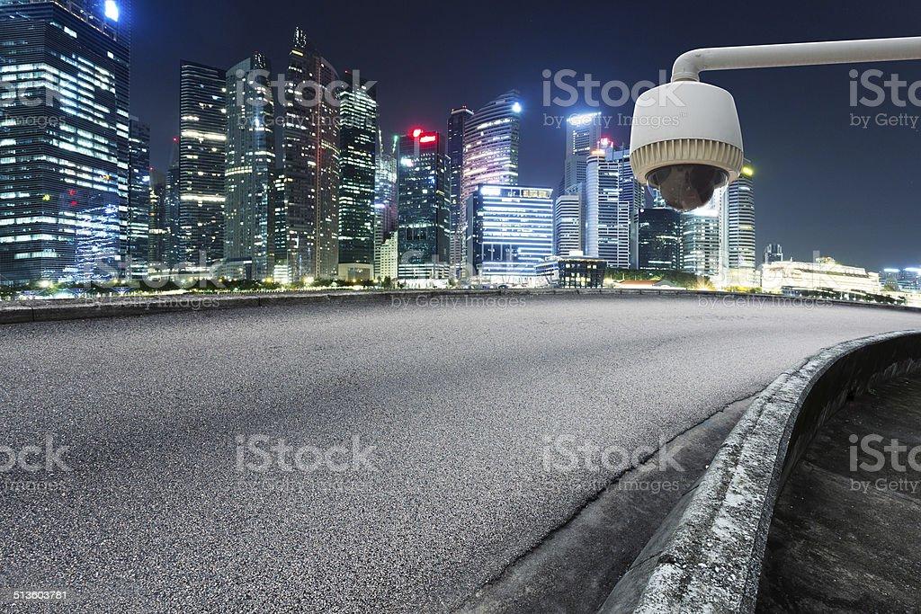 CCTV with prosperous cityscape background stock photo