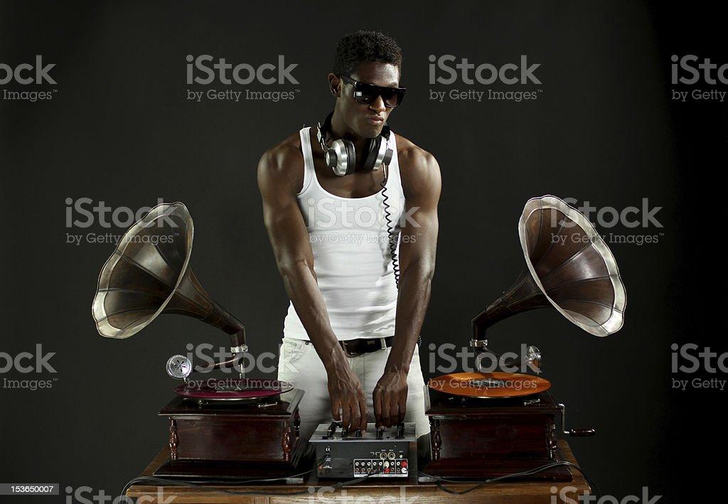 DJ with retro gramophones stock photo