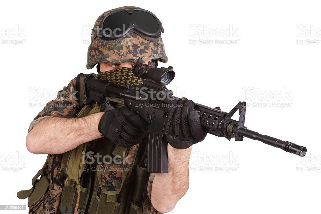 US MARINES with rifle stock photo