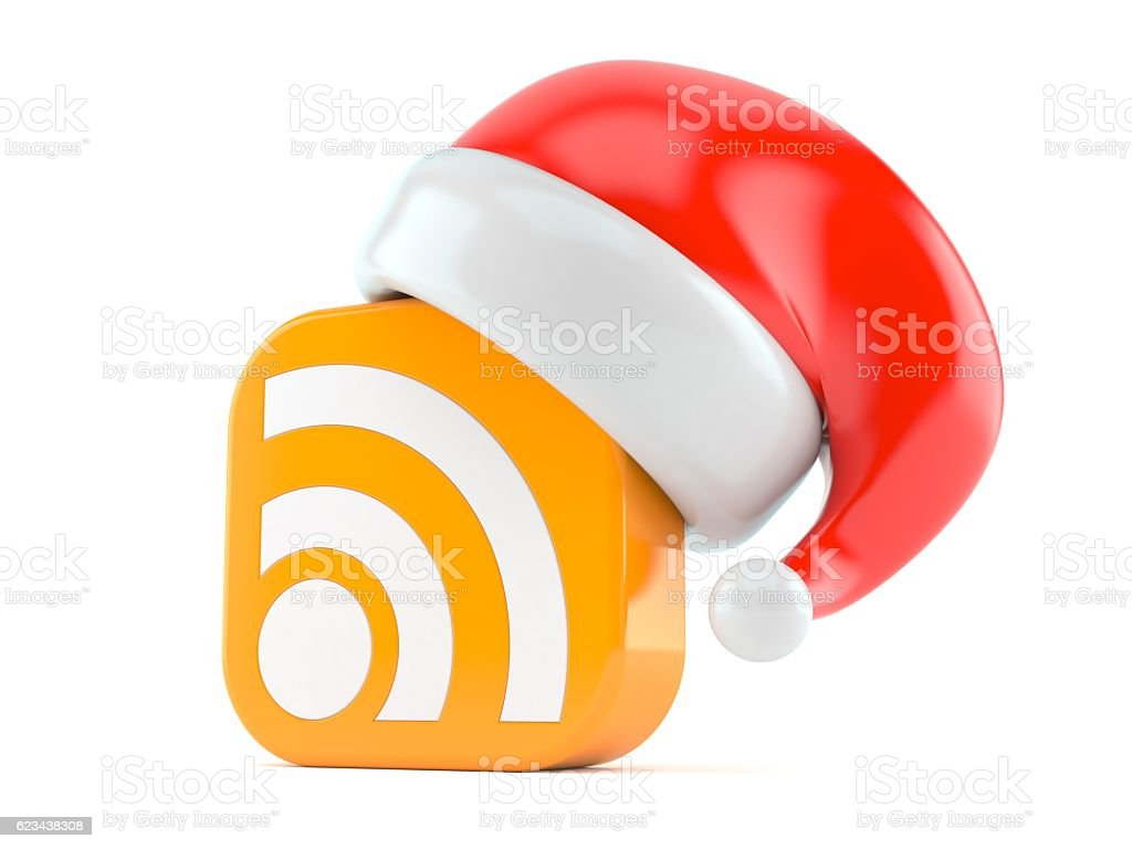 RSS with santa hat stock photo