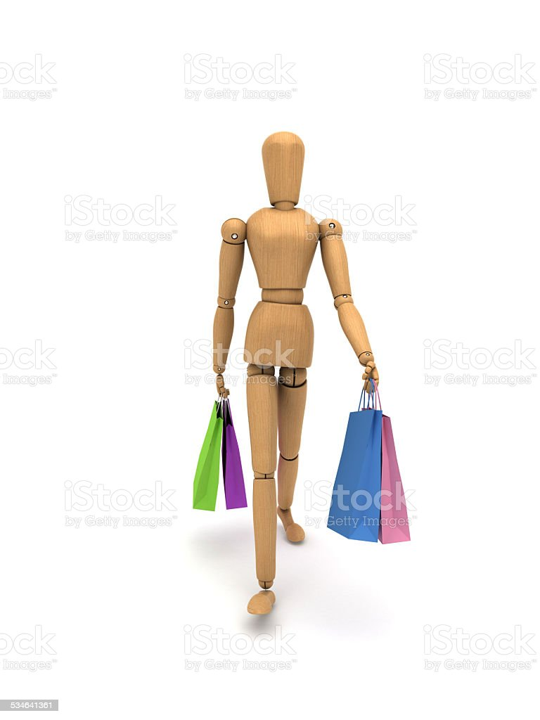With shopping bags woman font stock photo