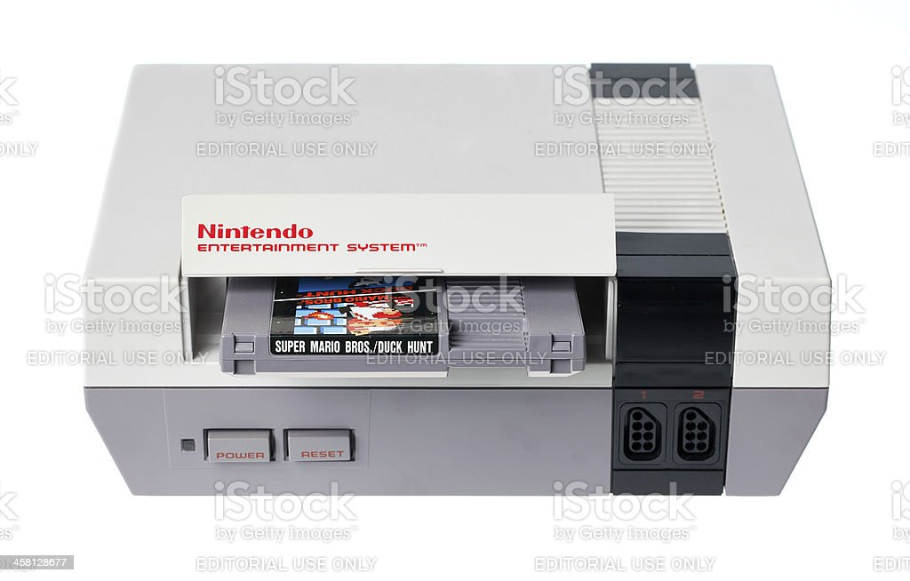 NES with Super Mario Bros. and Duck Hunt stock photo
