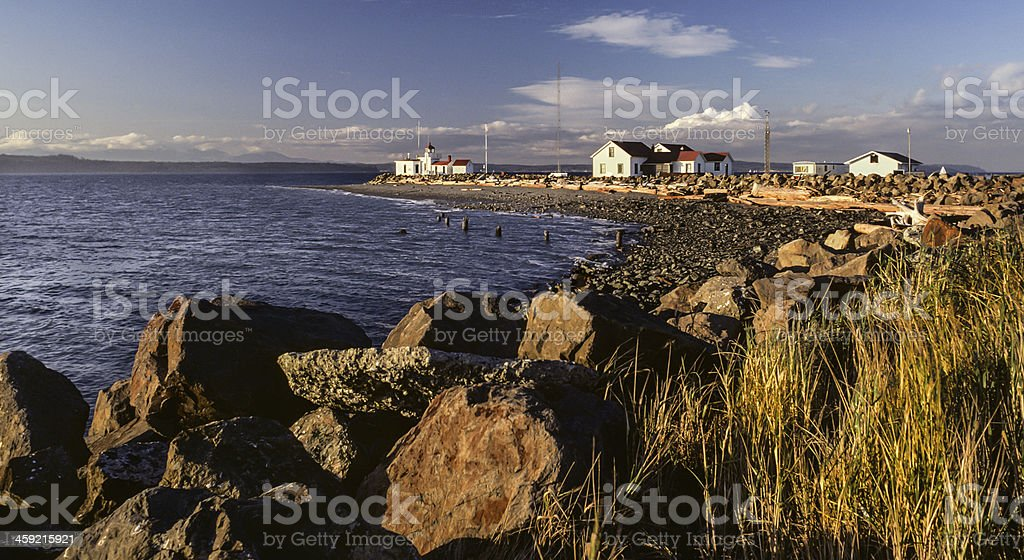 West Point Lighthouse at Sunset royalty-free stock photo