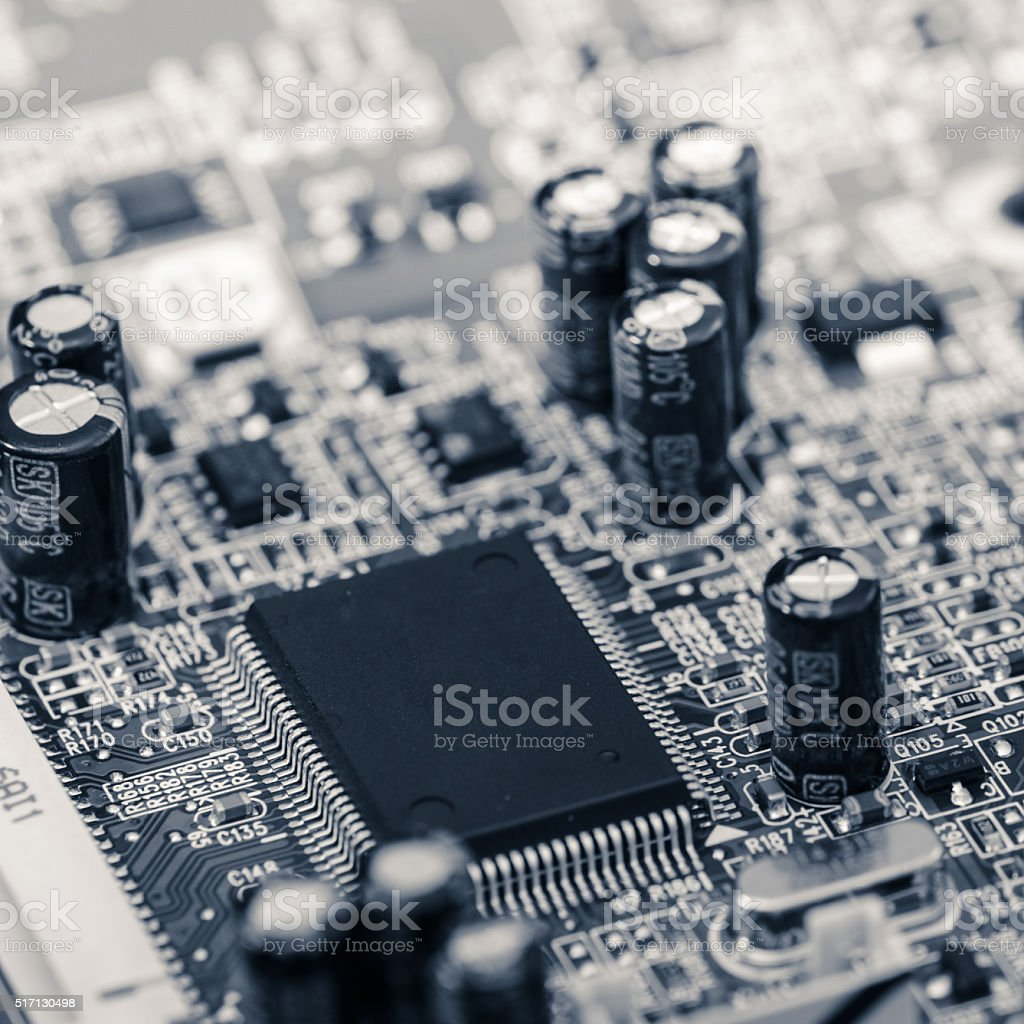 With the integrated circuit, close-up stock photo