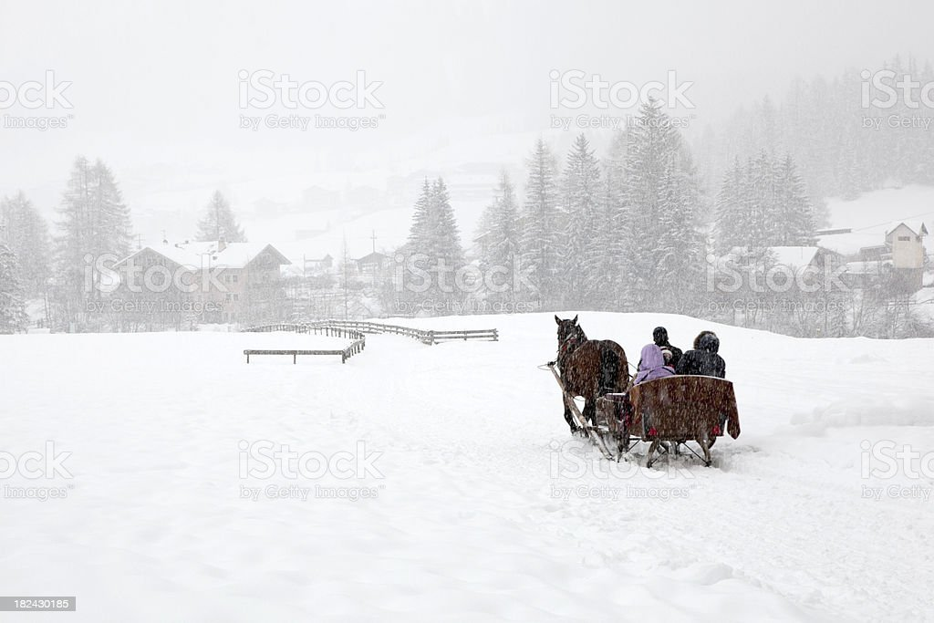With the sleigh through winter wonderland stock photo