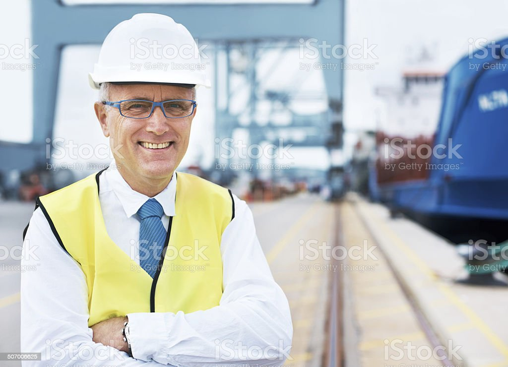 With us at the helm, your cargo is safe! stock photo
