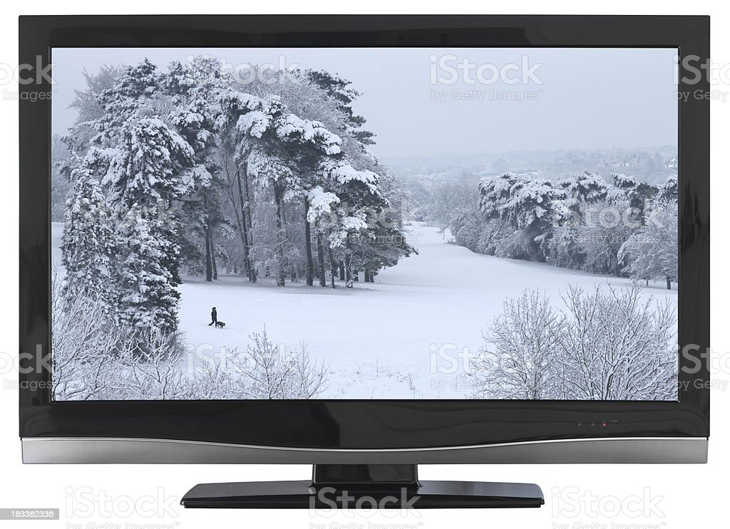 HD TV with winter scene royalty-free stock photo