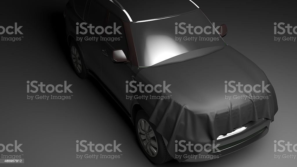 SUV with wrapped hood stock photo