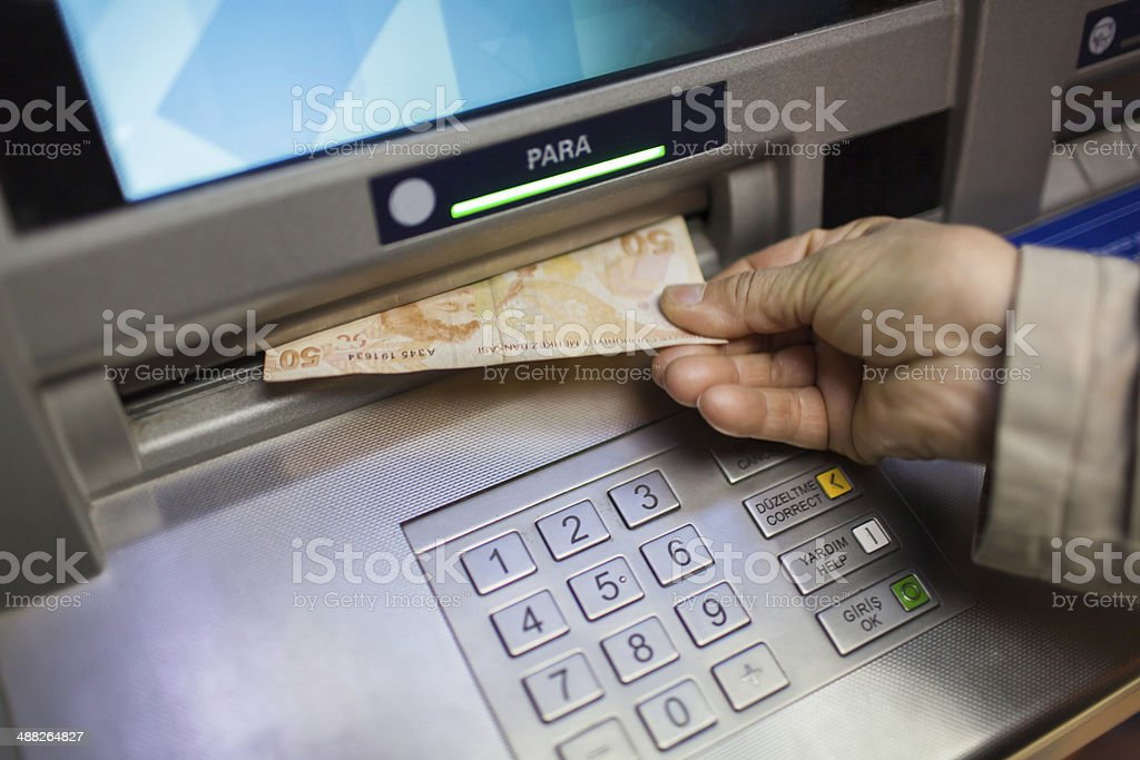 Withdrawing cash stock photo