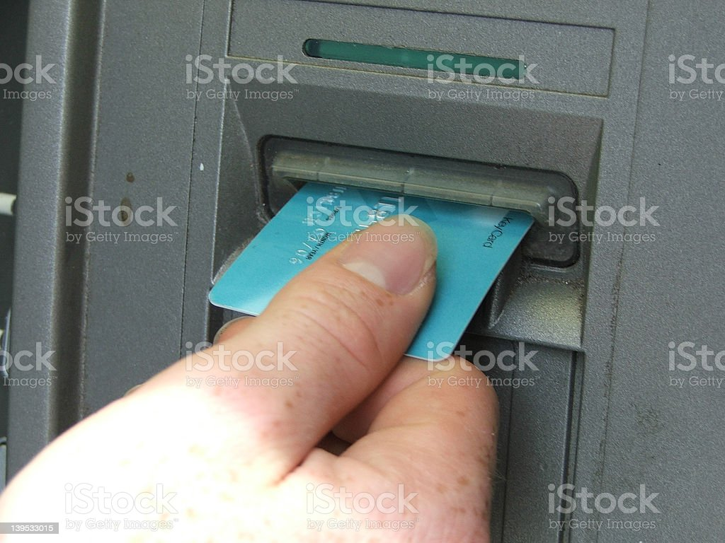 ATM Withdrawl stock photo
