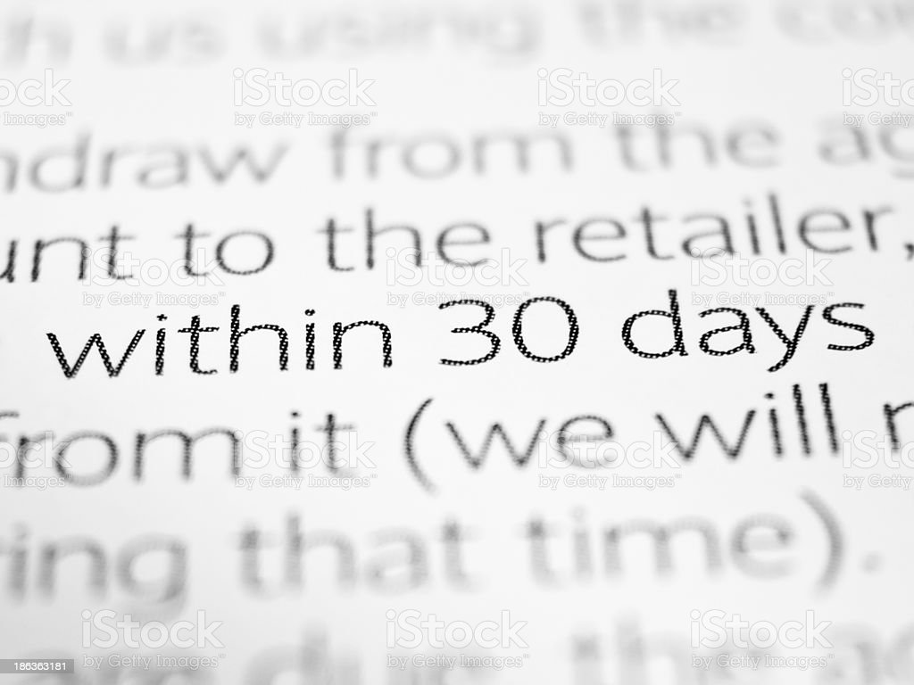Within 30 days stock photo