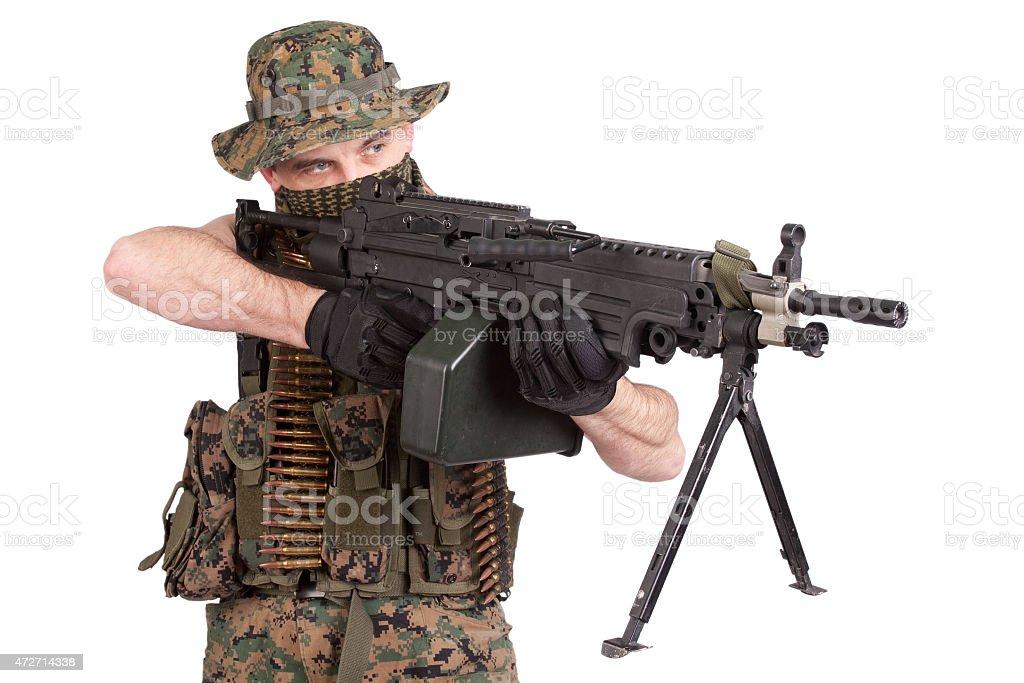 US MARINES withmachine gun stock photo