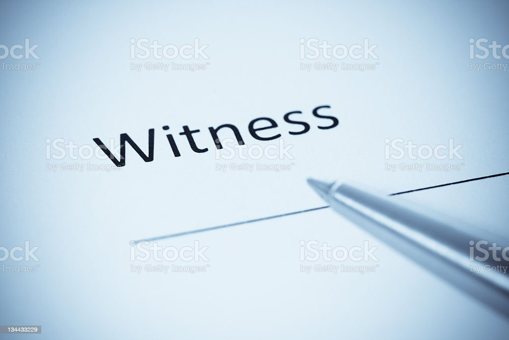 Witness Contract Form With Pen, Selenium Tone stock photo